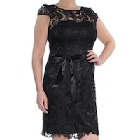 ADRIANNA PAPELL Womens Black Illusion Lace Cap Sleeve Jewel Neck Above The Knee Sheath Cocktail Dress  Size: 12