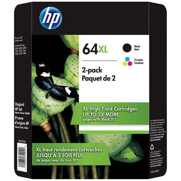 HP 64XL High Yield Ink Cartridge, Black & Tri-Color, 2-pack - N/A