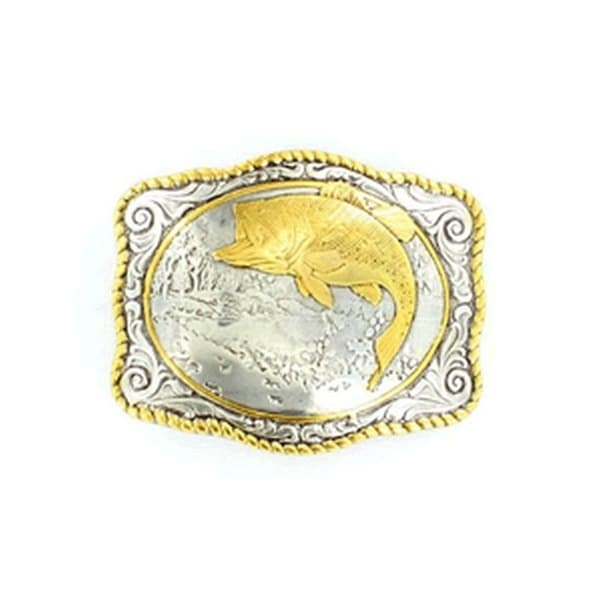 Crumrine Western Belt Buckle Roped Edges Bass Fish Silver Gold - 2 3/4 x 3 1/2