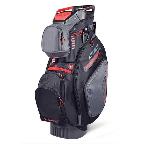 New 2019 Sun Mountain C-130 Golf Cart Bag (Gunmetal / Black / Red) - Gunmetal / Black / Red