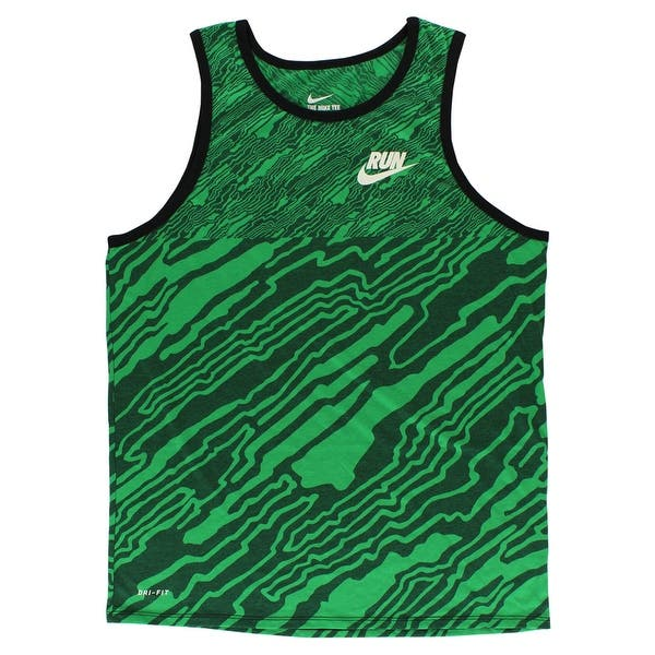 8d6259e82ab Nike Mens Run Print Refine Tank Top Green - Green Black - XXL. Image Gallery