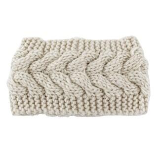 Woman Nylon Twist Braided knitted Head Wrap Hair Band Sports Ski Headband Beige