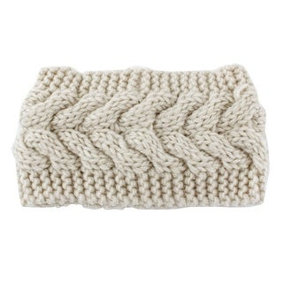 Woman Nylon Twist Braided knitted Head Wrap Hair Band Sports Ski Headband Beige