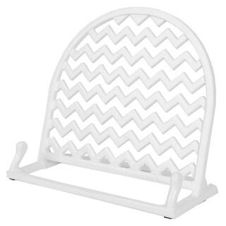 Home Basics Cast Iron Chevron Design Cookbook Stand, 10.5x5.5x9 Inches (White)