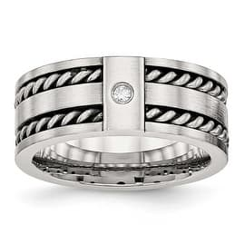 Stainless Steel Antiqued and Brushed with CZ Twisted 9 mm Band Ring - Sizes 8 - 14|https://ak1.ostkcdn.com/images/products/is/images/direct/893891e340b510e6e0fe4954af24e8ccfa8b5ad9/Stainless-Steel-Antiqued-and-Brushed-with-CZ-Twisted-9-mm-Band-Ring---Sizes-8---14.jpg?impolicy=medium