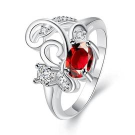 Petite Ruby Red Swirl Design Petite Ring