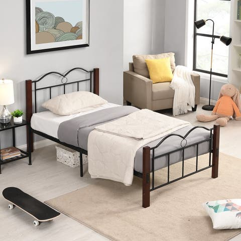 AOOLIVE Heavy Duty Steel Metal Twin Size Platform Bed With Wooden Feet
