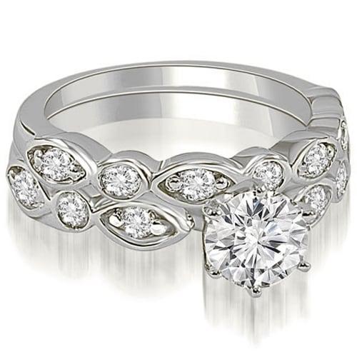 1.15 cttw. 14K White Gold Antique Round Cut Diamond Bridal Set