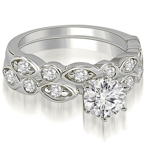 1.40 cttw. 14K White Gold Antique Round Cut Diamond Bridal Set