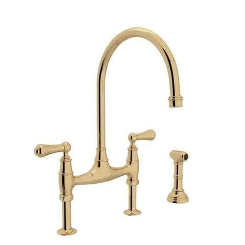 Rohl U.4719L-2 Perrin and Rowe Georgian Era 1.8 GPM Bridge Faucet with Two Lever Metal Handles