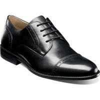 Nunn Bush Men's Sparta Cap Toe Oxford Black Leather