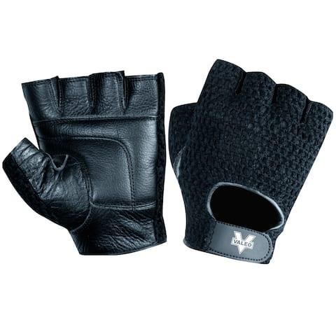 Valeo Leather Mesh Back Weight Lifting Gloves - Black