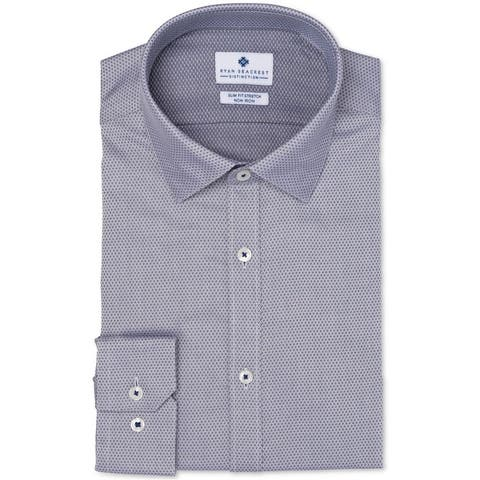 Ryan Seacrest Mens Slim-Fit Button Up Dress Shirt