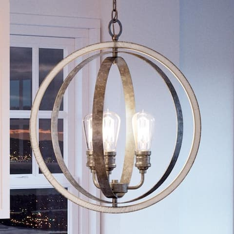 """Luxury Vintage Pendant Light, 24""""H x 21.25""""W, with Modern Farmhouse Style, Galvanized Steel Finish by Urban Ambiance"""