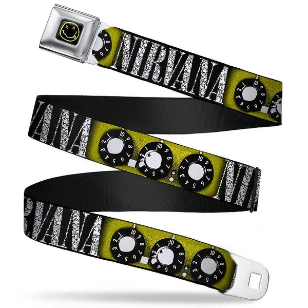 Nirvana Smiley Face Full Color Black Yellow Nirvana Guitar Knobs Yellow Seatbelt Belt