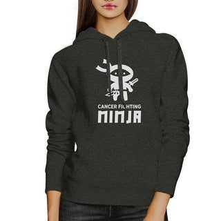 Ninja Cancer Fighting Dark Grey Hoodie For Breast Cancer Support