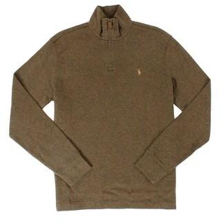 Polo Ralph Lauren NEW Brown Mens Medium M Estate Rib 1/2 Zip Sweater