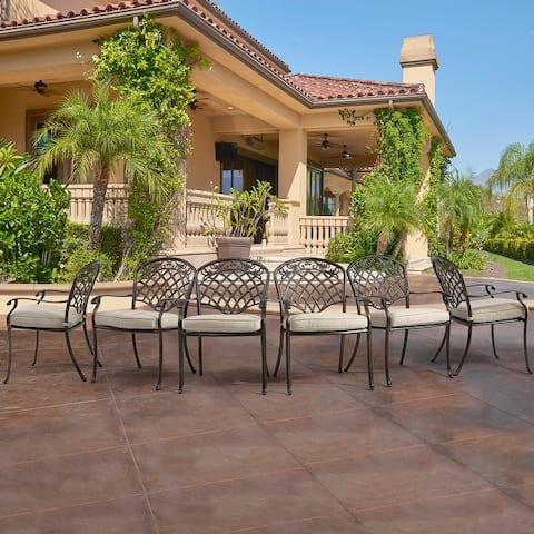 6-Piece Cast Aluminum Diagonal-Mesh Vines Backrest Dining Chairs - N/A