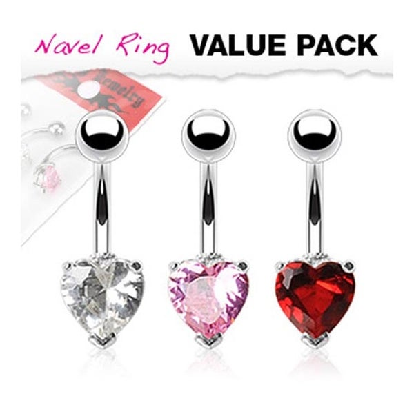3 Pcs Pack of Clear, Pink, and Red Color Stainless Steel Heart CZ Prong Navel Belly Button Ring