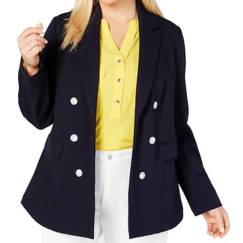Charter Club Womens Jacket Blue Size 20W Plus Notched-Collar Flyaway