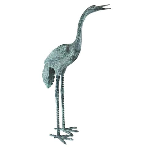 Design Toscano Large Bronze Crane: Straight Neck