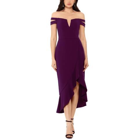 Xscape Womens Midi Dress Off-The-Shoulder Hi-Low - Plum