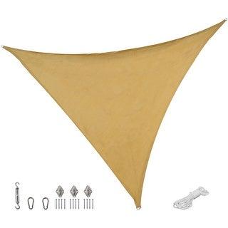 Sunnydaze Beige Triangle Sun Shade Sail with Hanging Hardware - 16.5-Foot