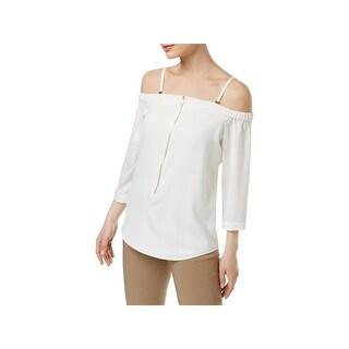 Calvin Klein Womens Blouse Zip-Front Cold-Shoulder