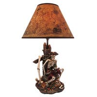 Pirate Skeleton W/ Treasure Table Lamp W/ Shade 21 inch tall - Multicolored