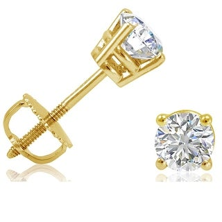 AGS Certified 1/2ct tw Round Diamond Stud Earrings set in 14K Yellow Gold with Screw-Backs