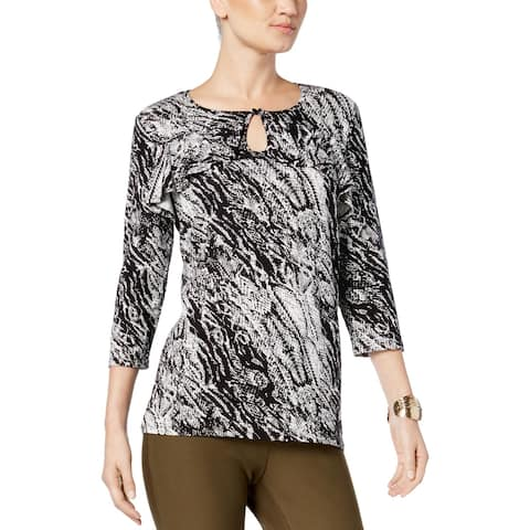 NY Collection Womens Pullover Top Ruffled Keyhole