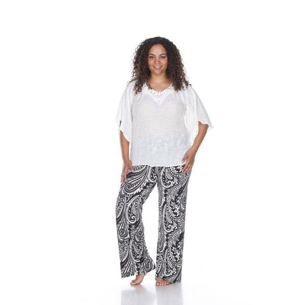 24b0b5f992d Shop Plus Size Printed Palazzo Pants - Black   White Paisley - On ...