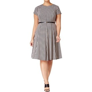 Jessica Howard Womens Plus Wear to Work Dress Printed Short Sleeves