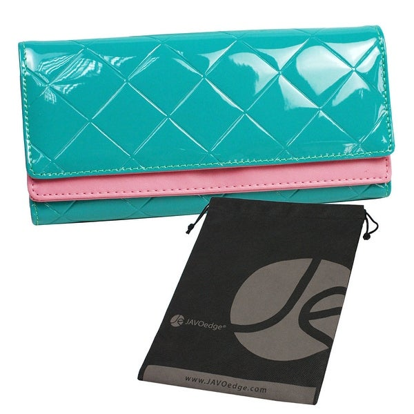 Black Tri Fold Quilted Hand Clutch Style Wallet for Phone, Cards, ID with Pink Stripe and Bonus Drawstring Bag