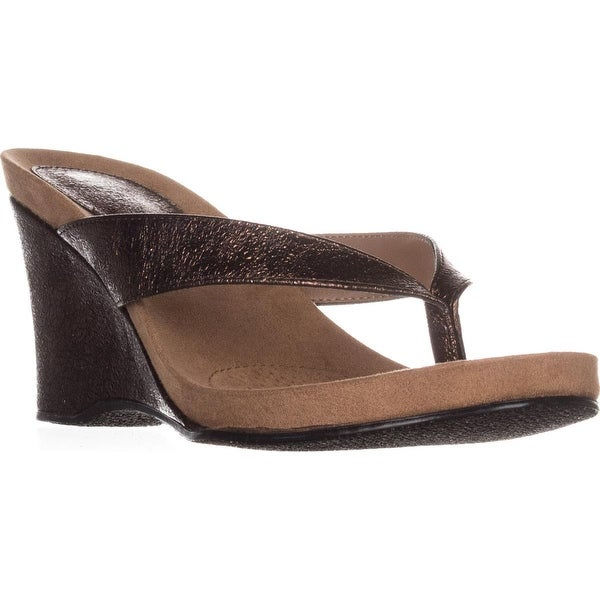 SC35 Chick Wedge Flip Flops, Bronze