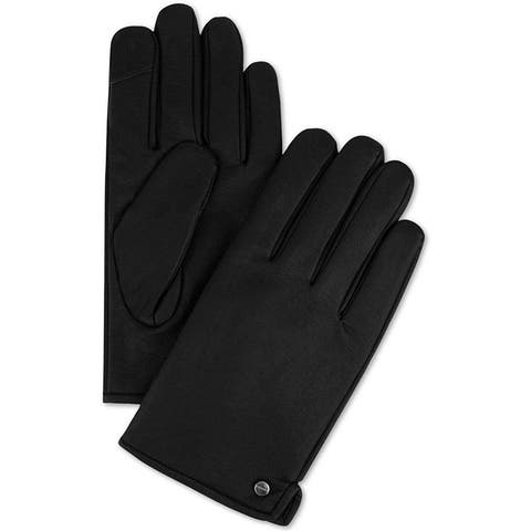 Calvin Klein Winter Gloves Black Size Large L Side Vent Faux Leather