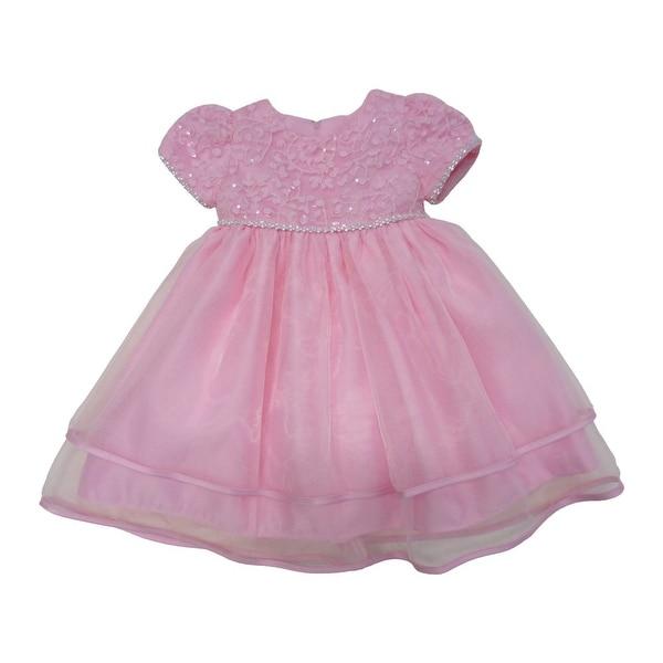 040034b4c61b Shop Baby Girls Pink Glitter Trim Embroidered Overlaid Flower Girl ...