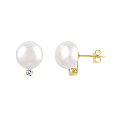 ColorStar 14k Yellow Gold Freshwater Button Pearl Diamond Stud Earring