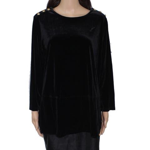 Lauren by Ralph Lauren Women Top Black Size 1X Plus Velvet Button Trim