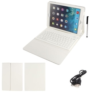 White PU Leather bluetooth Wireless Keyboard Stand Case Cover for iPad 5 Air