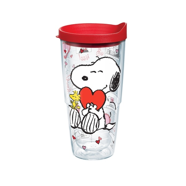 1a924c5a510 Shop Peanuts Valentine's Day 24 oz Tumbler with lid - Free Shipping On  Orders Over $45 - Overstock - 26483535