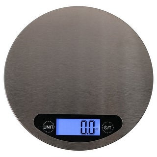 Sunnydaze Round Digital Food Kitchen Scale, Stainless Steel with LCD Display, 11lb./5kg (Batteries Included)