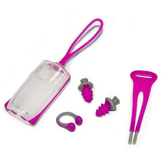Aqua Sphere Silicone Ear Plug and Nose Clip Set with Case - Pink