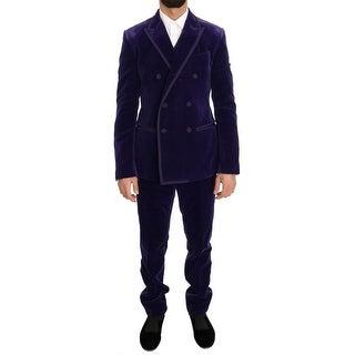 Dolce & Gabbana Dolce & Gabbana Purple Velvet Slim Fit Double Breasted Suit - it48-m