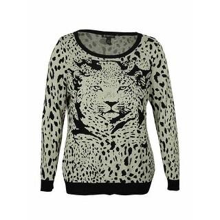 INC Women's Animal Print Scoop Neck Sweater