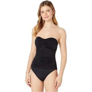 Link to La Blanca Island Goddess Bandeau One-Piece, Black, 10 Similar Items in Swimwear