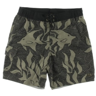 Quiksilver Mens Angler Lace Up Printed Swim Trunks - M