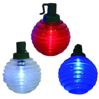 Set of 10 B/O LED Patriotic Red, White and Blue Shimmer Globe Lights - Green Wire