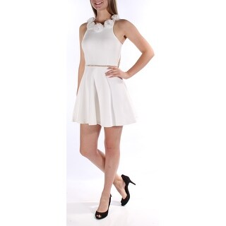 IN *AWE $69 Womens New 1065 Ivory Embellished Fit + Flare Dress Juniors S B+B