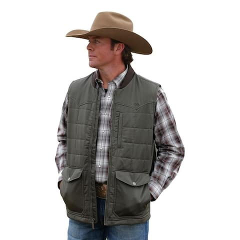 Cinch Western Vest Mens Wax Coated Quilted Logo Brown